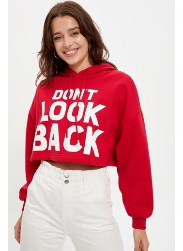 DeFacto Kapüşonlu Crop Sweatshirt Kırmızı